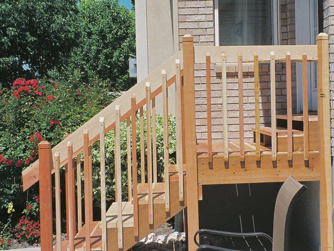 Best Handrail Redwood Deck Google Search Exterior Stair 400 x 300
