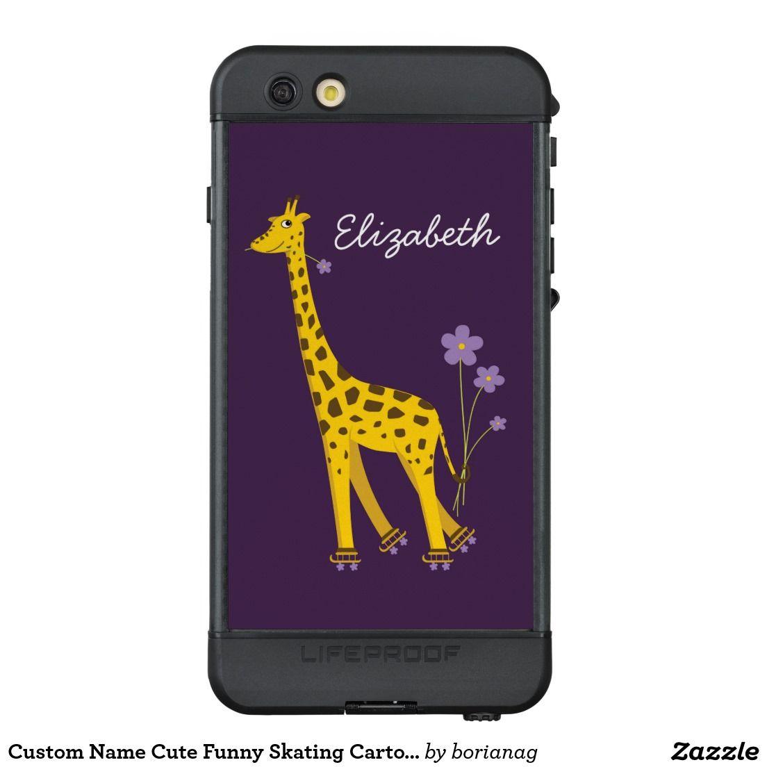 Custom name cute funny skating cartoon giraffe protective