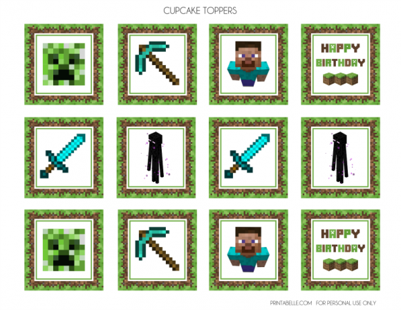This is a graphic of Printable Minecraft Cupcake Toppers pertaining to minecraft creeper