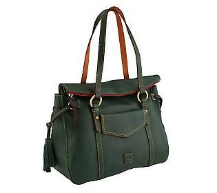 Dooney Bourke Floine Leather Smith Bag In Ivy Green With Pockets Galore And A Top Zip Too