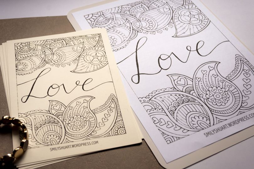 Love Coloring Page Printable Sheet Valentines Day