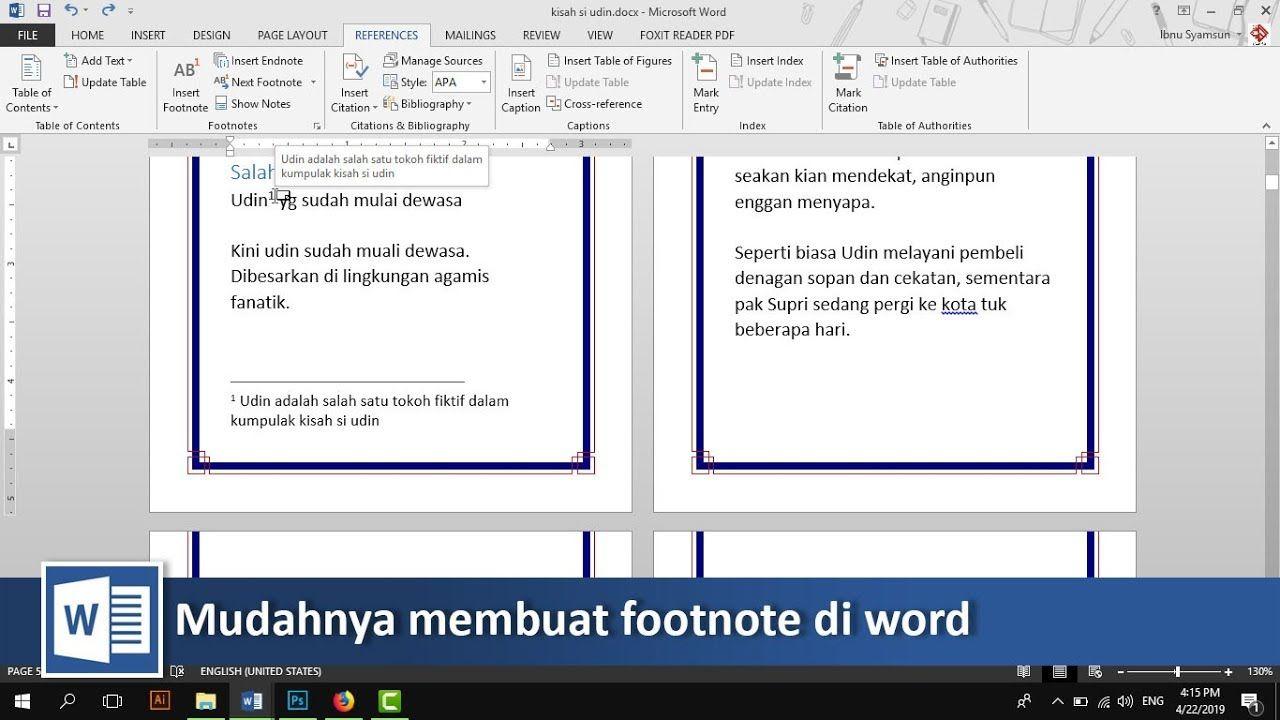 Cara Membuat Footnote Atau Catatan Kaki Di Microsoft Word Tutorial89 Tutorial Microsoft Word Di Video Tutorial Kali Ini Kita Akan Belajar Bagaiaman Cara Mem