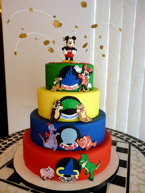Cool Walt Disney World Four Parks With Images Disney Birthday Cakes Personalised Birthday Cards Veneteletsinfo