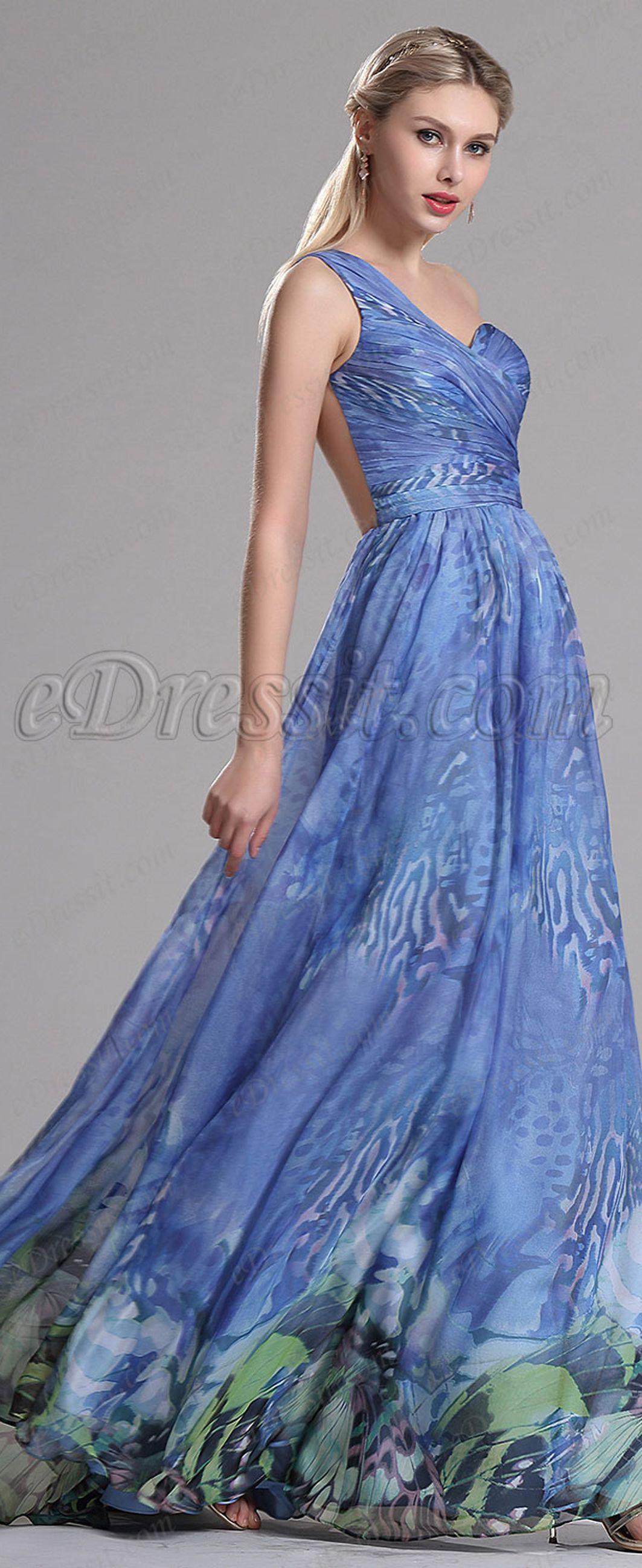 Edressit one shoulder blue prom dress evening gown ever new