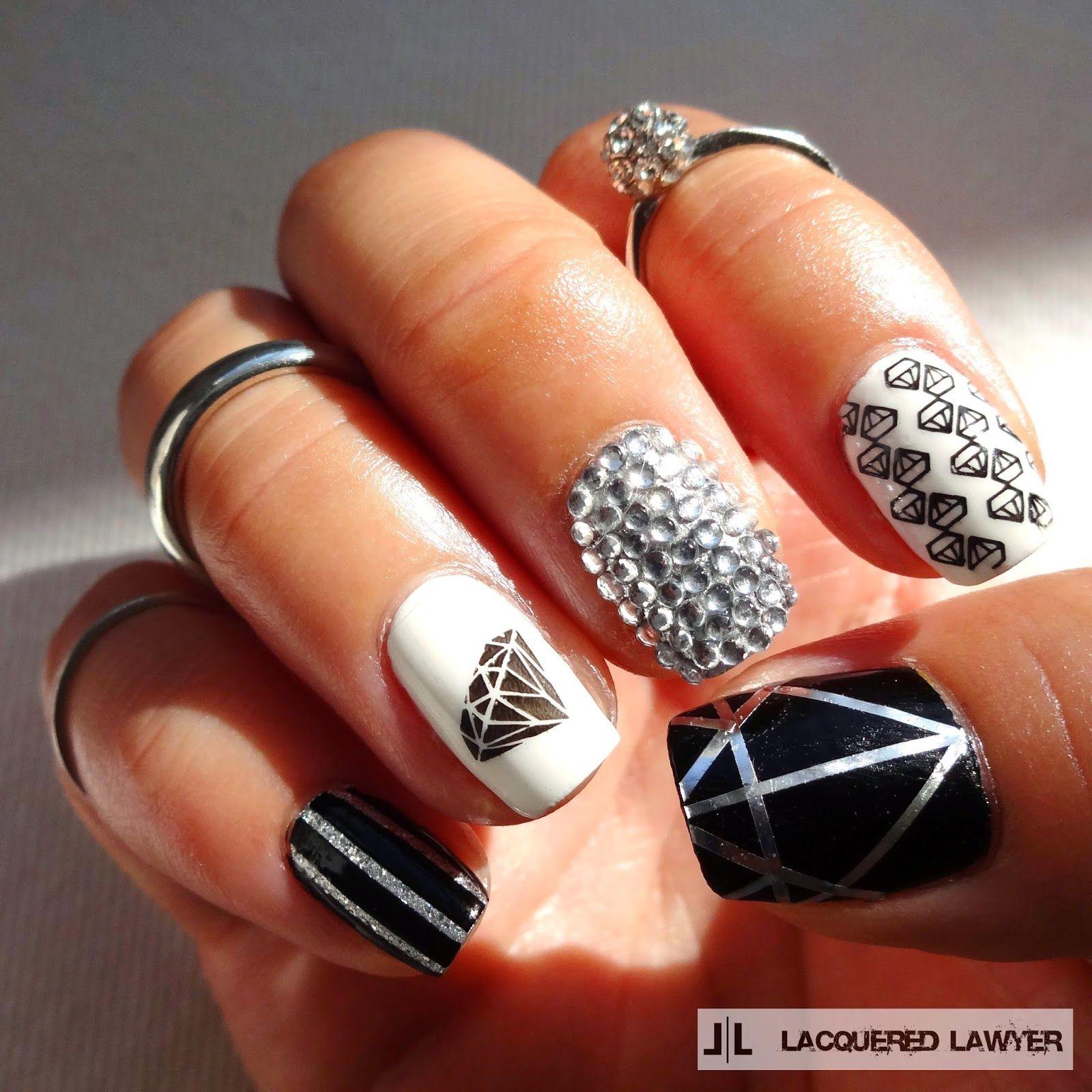 Shine Bright Like A Diamond | Black glitter nails, Diamond nails and ...