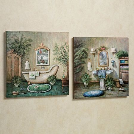 blissful bath wooden wall art plaque set | wall painting