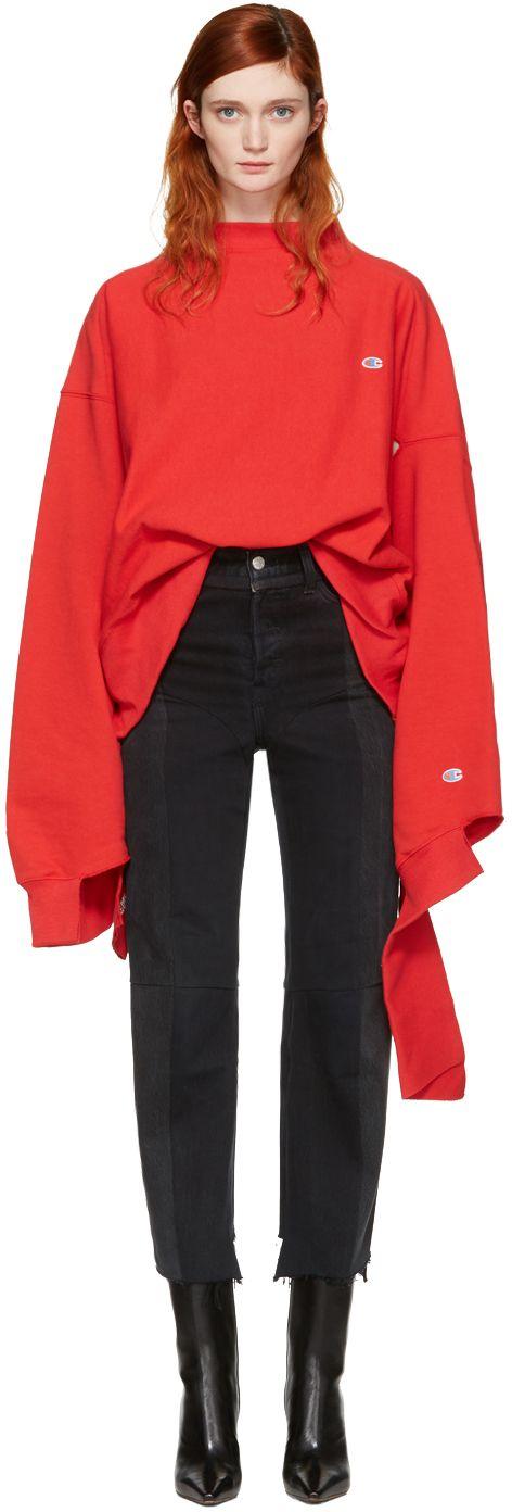 Vetements: Red Champion Edition In Progress Pullover | SSENSE