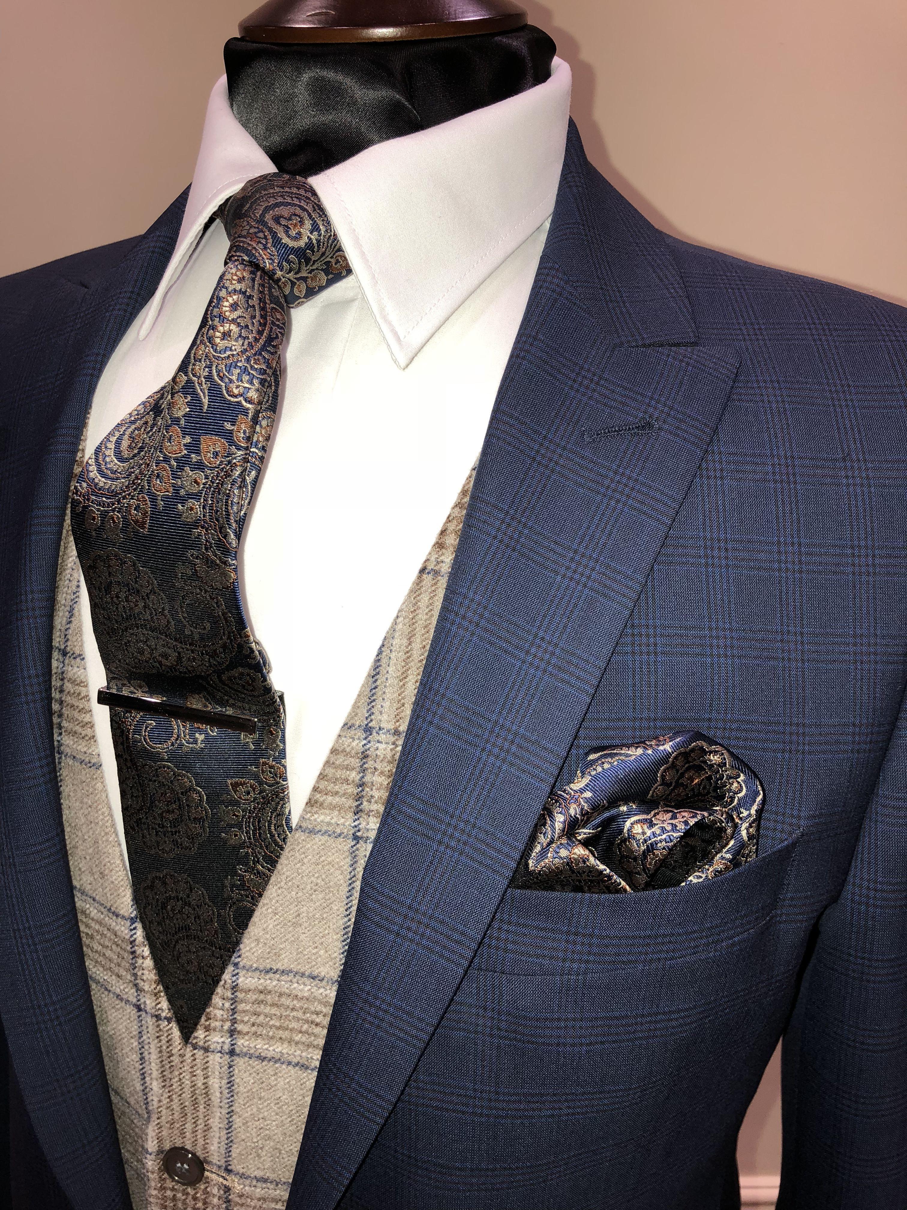 Slim fit blue check suit brown tweed waistcoat groom