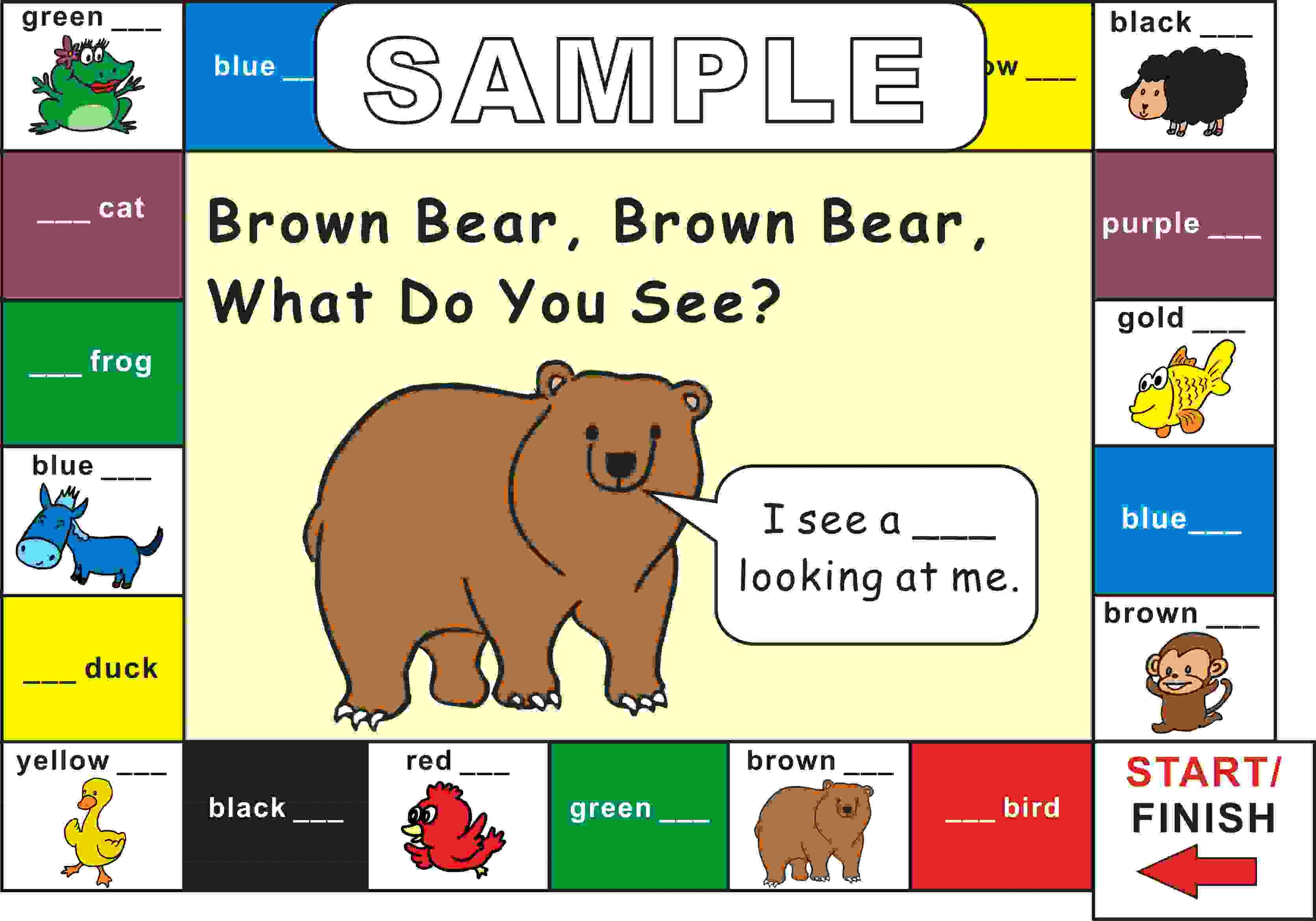 Eric Carle Brown Bear What Do You See Game Board With Images