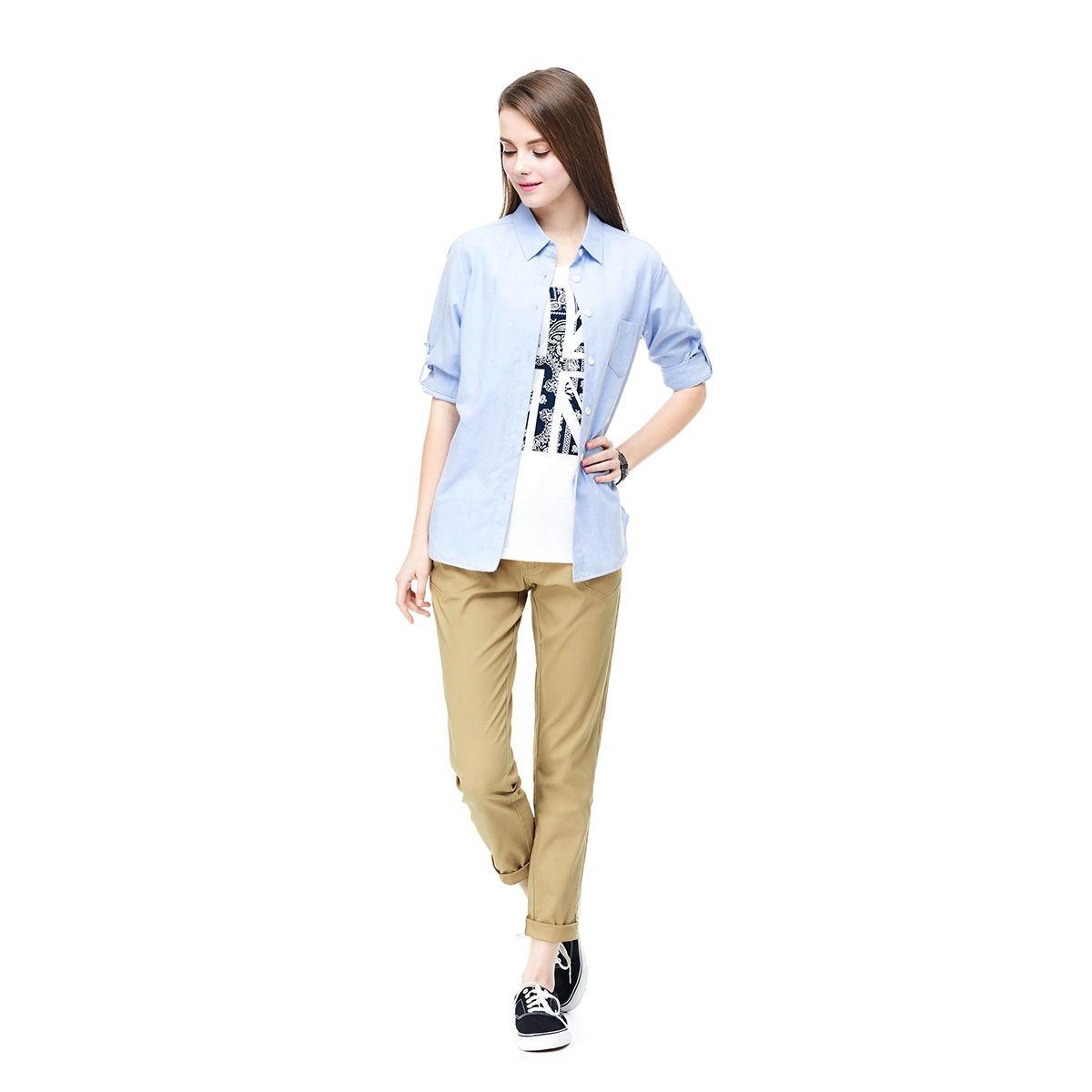 水洗牛津七分袖襯衫 - CACO美式休閒服飾購物網