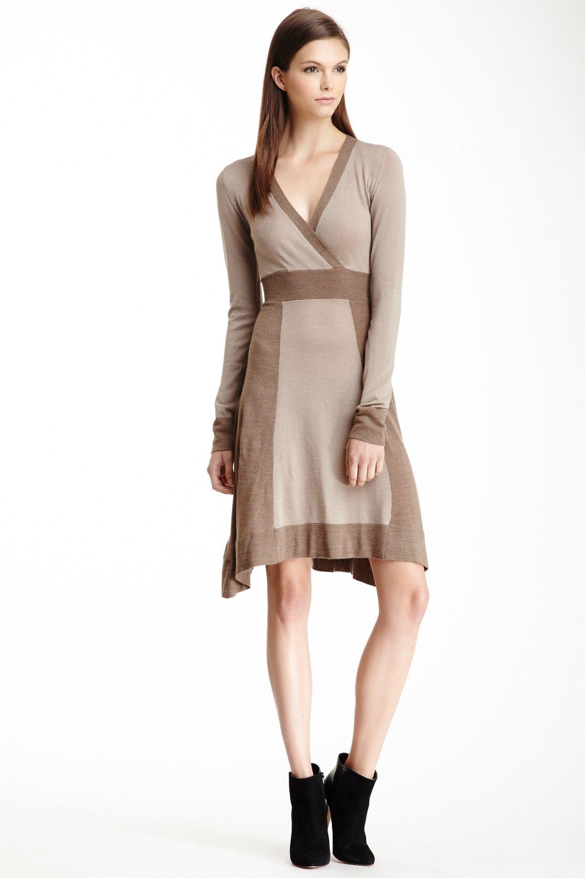 BCBGMAXAZRIA Sandra Surplice Neck Wool Dress  DressWomen #Dresses
