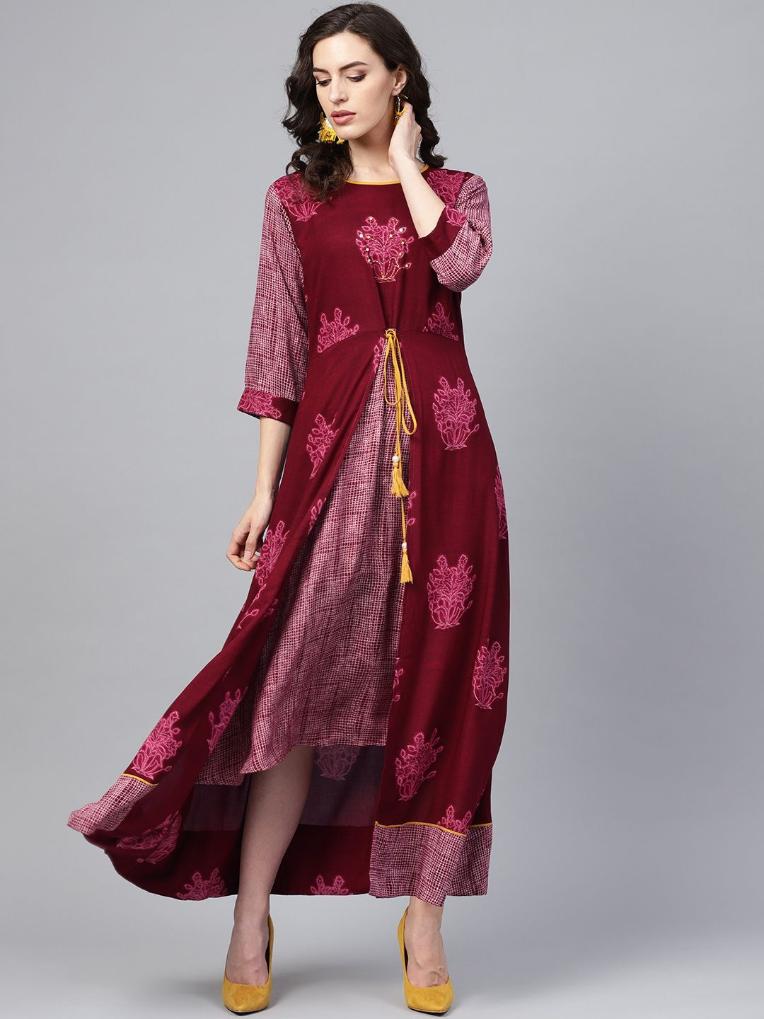 Buy Shree Lovable Wine Rayon Floral Dress At Best Price In India Giyim Bohem