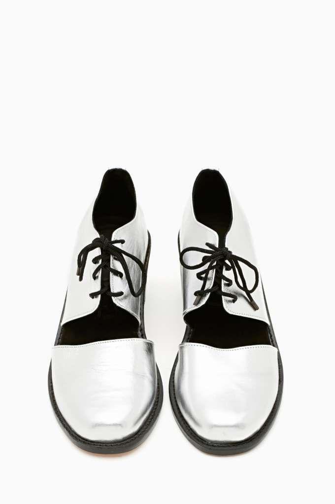 Shakuhachi Split Brogue Boot - Silver