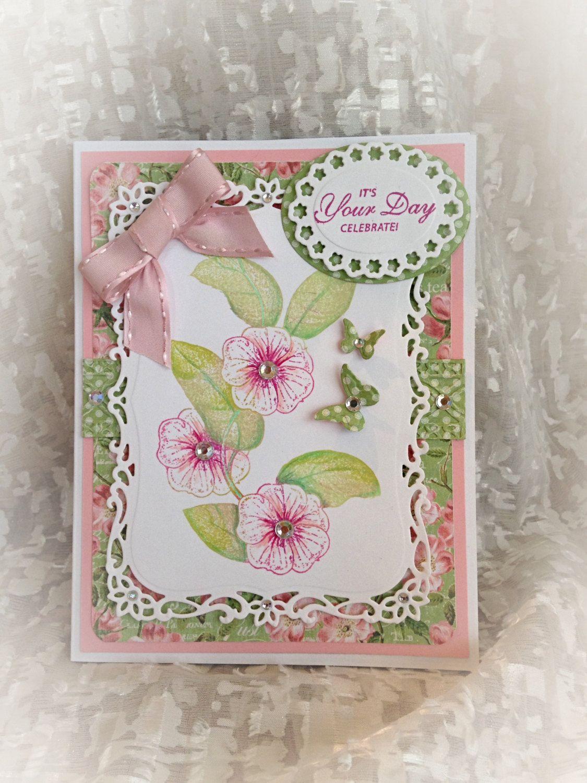 Birthday Card Handmade Fancy Happy Filigree Floral Greeting Luxury