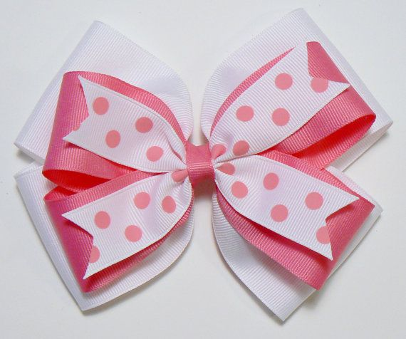 Royal white Dots 5-5 1//2 Inches Custom Boutique Hair Bow Choose Clip