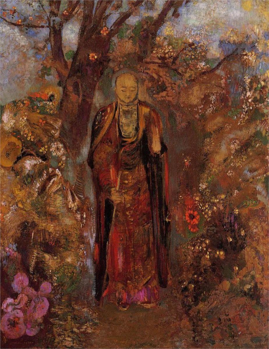 Odilon Redon ~ Buddha Walking Among the Flowers, 1905