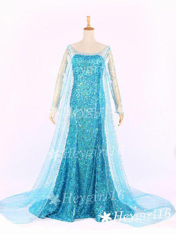 Hot Blue Sequins Frozen Elsa Princess Elsa Prom Dress