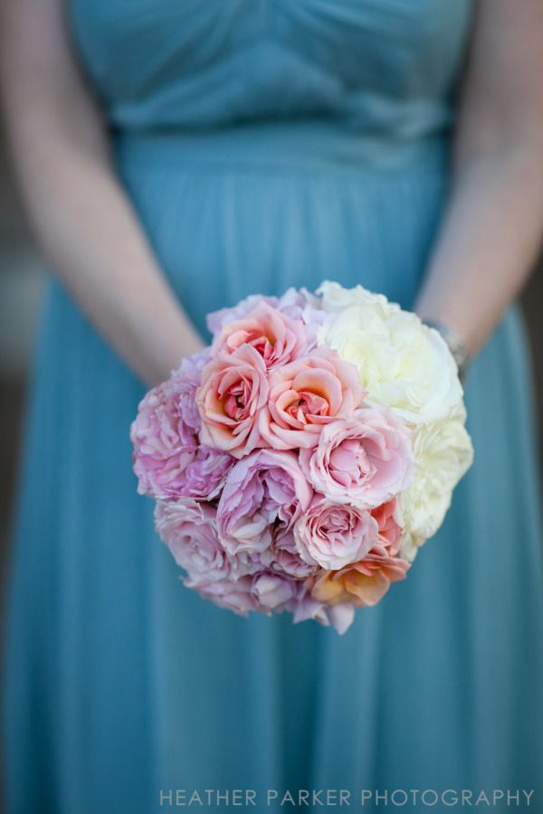 White Pink and Peach Rose Bouquet. via stylemepretty.com onto Bridal Bouquets.