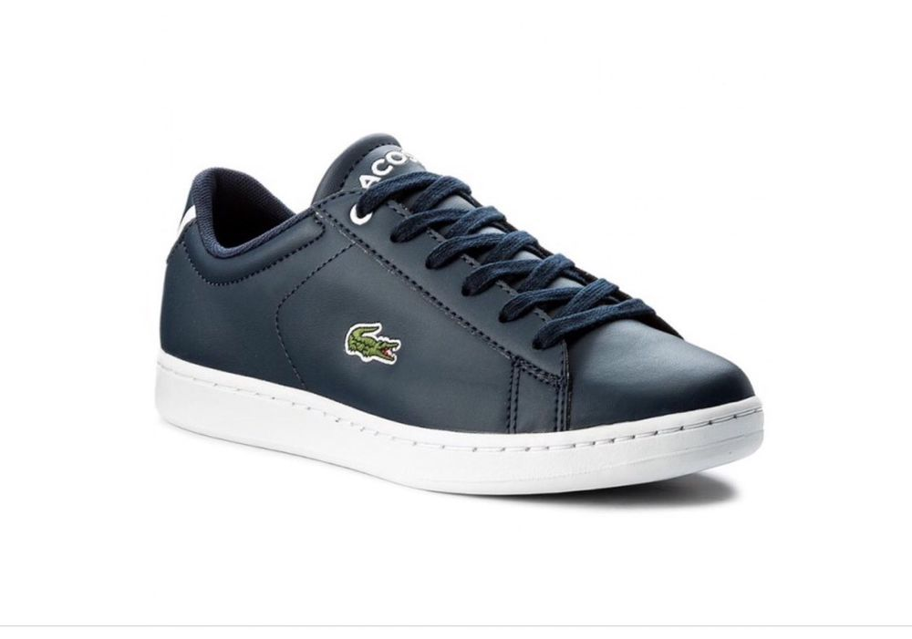 e804ab555 Lacoste Junior Boys Navy Blue Carnaby EVO Trainers Brand New Boxed free  deliver