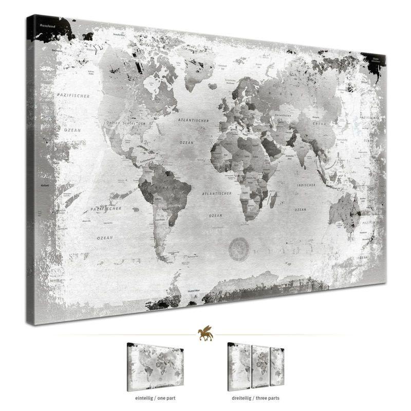 lanakk weltkarte leinwandbild poster pinnwand kork vintage schwarz wei grau flur. Black Bedroom Furniture Sets. Home Design Ideas