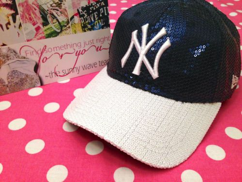 adc7a44a1c6 New Victoria Secret Pink Yankees New York NY MLB Blue Bling Baseball Hat Cap
