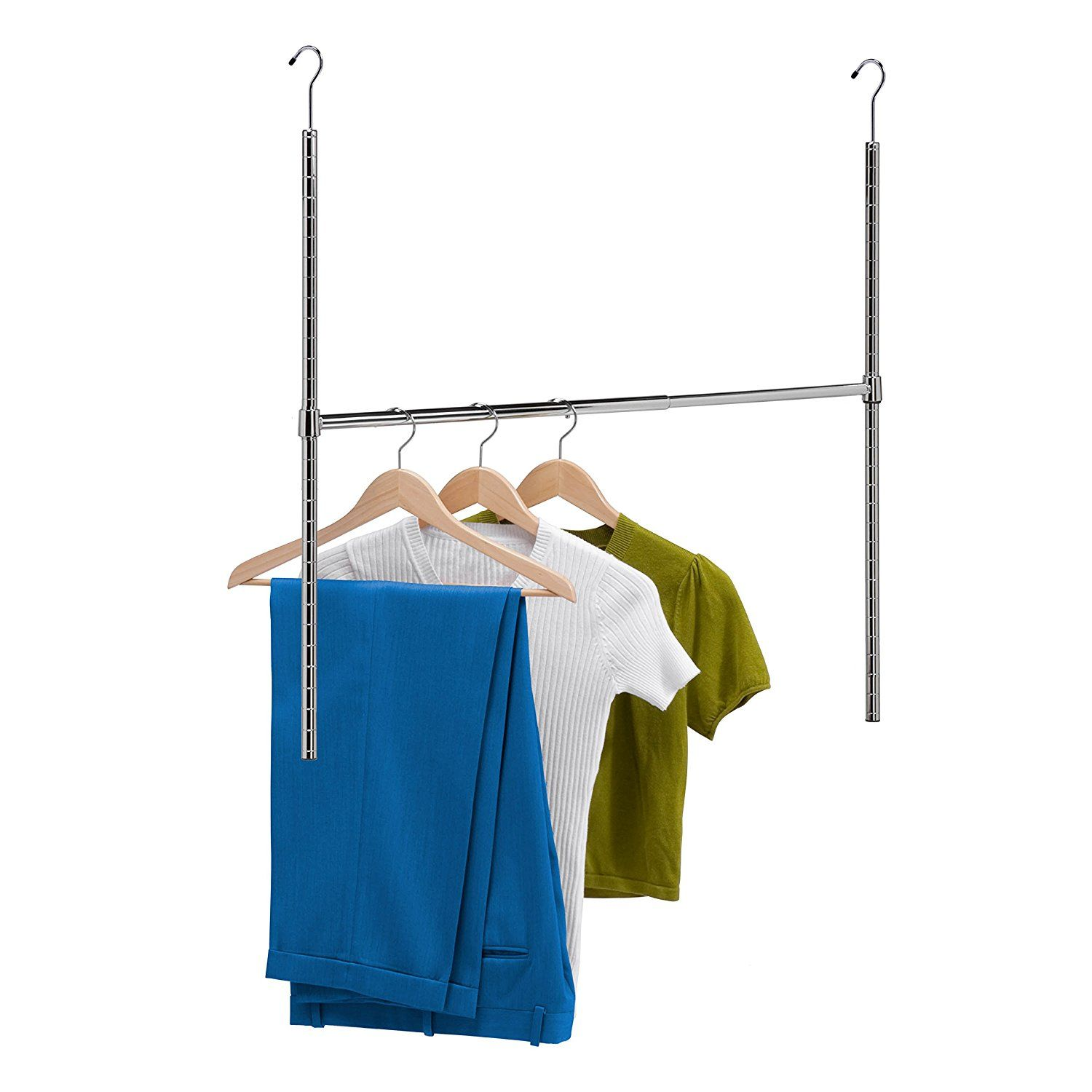 Double Closet Rod Height Amazon Honeycando Hng01816 Chrome Adjustable Hanging Closet