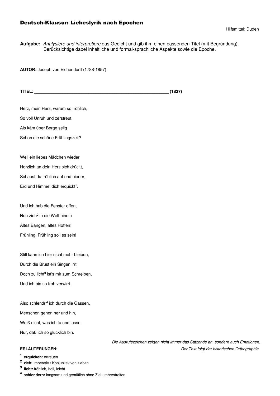 Deutsch Klausur Klasse 10 12 Zur Liebeslyrik Interpretation Von Eichendorffs Gedicht In 2020 Liebeslyrik Gedichte Lyrik