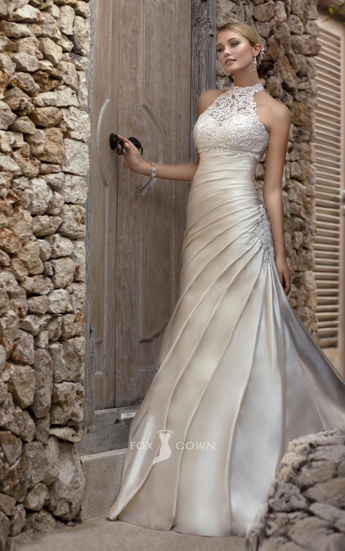 vintage lace satin low back halter ivory champagne wedding dress ...