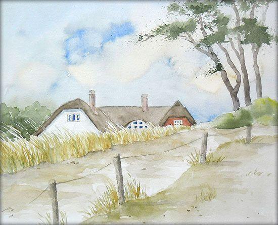Ahrenshoop Aquarell 24 X 30 Cm Original Landschaft