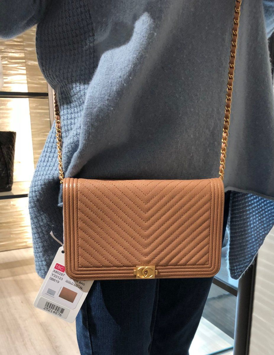 ae9ff4bfb62f Chanel Camel Boy WOC | Handbags in 2019 | Chanel woc boy, Chanel woc ...