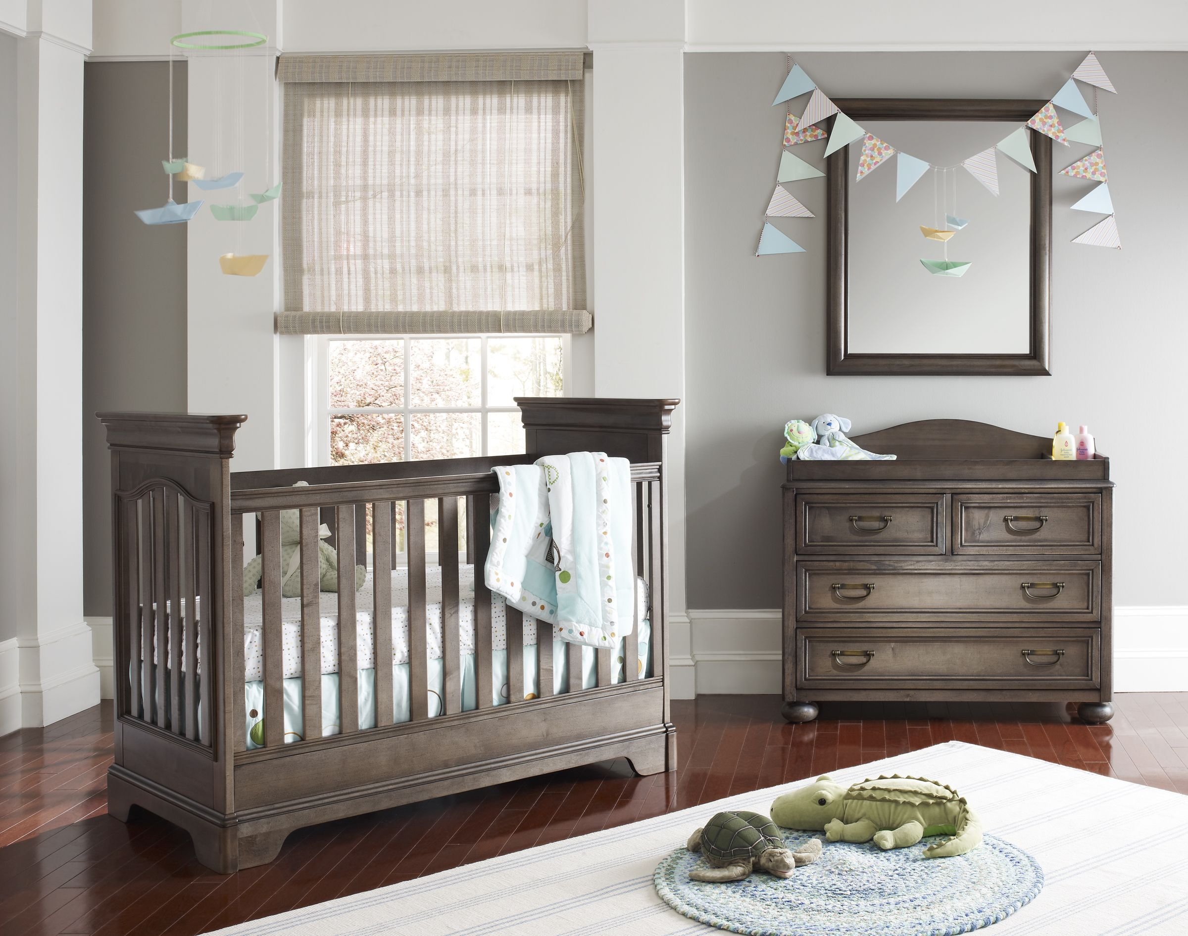 A Tribute Crib in our brand new Antique Slate gray wood tone