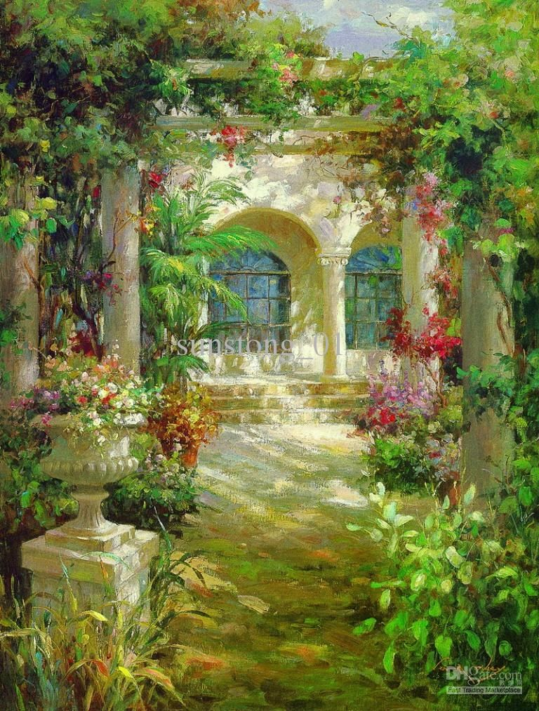 Flower Garden Paintings impression oil painting flowers garden home decoration wall art