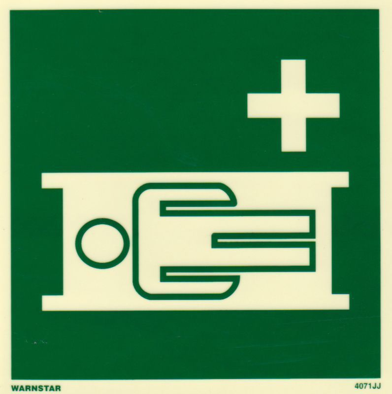 Marine Safety Sign, IMO Life Saving App. Symbol: Stretcher - Without Text