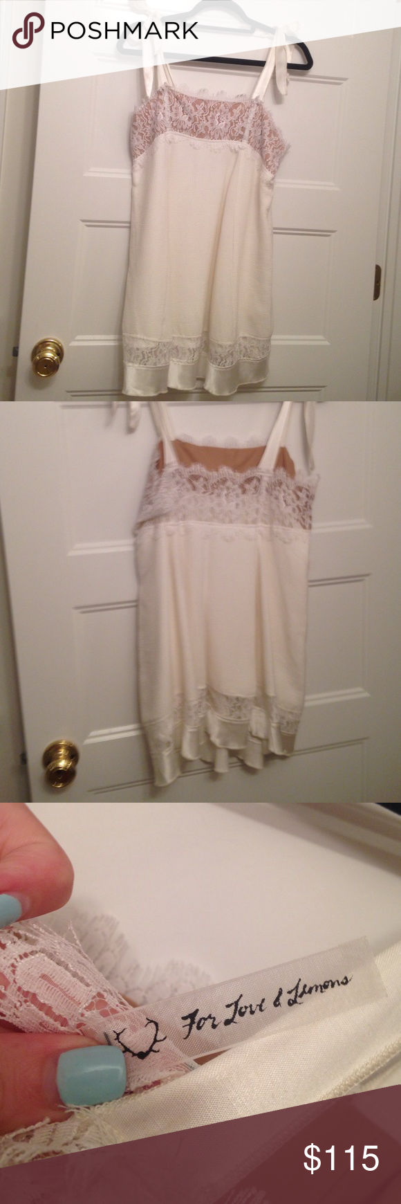 For love and lemons mini dress For love and lemons mini dress! Really adorable on and in great condition. The straps are silky and tie-able to the length you want. Willing to trade for other fll For Love and Lemons Dresses