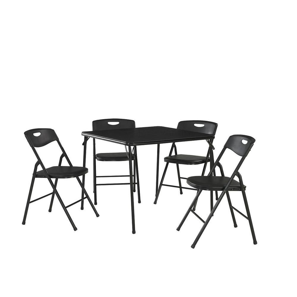 Cosco 5 Piece Black Portable Folding Card Table Set In 2019 Products Table Chair Sets Table Chairs Card Table Set
