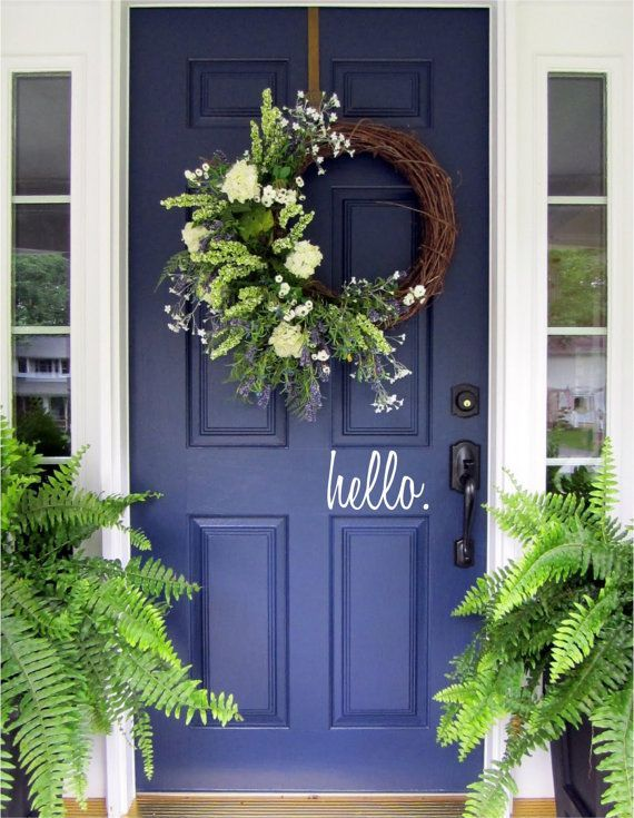 Hello, Front Door Welcome, Custom Vinyl letters Decal Wall Words Script Lettering Greeting Front Door Add Curb Appeal, Entryway Decor Spring#add #appeal #curb #custom #decal #decor #door #entryway #front #greeting #lettering #letters #script #spring #vinyl #wall #words
