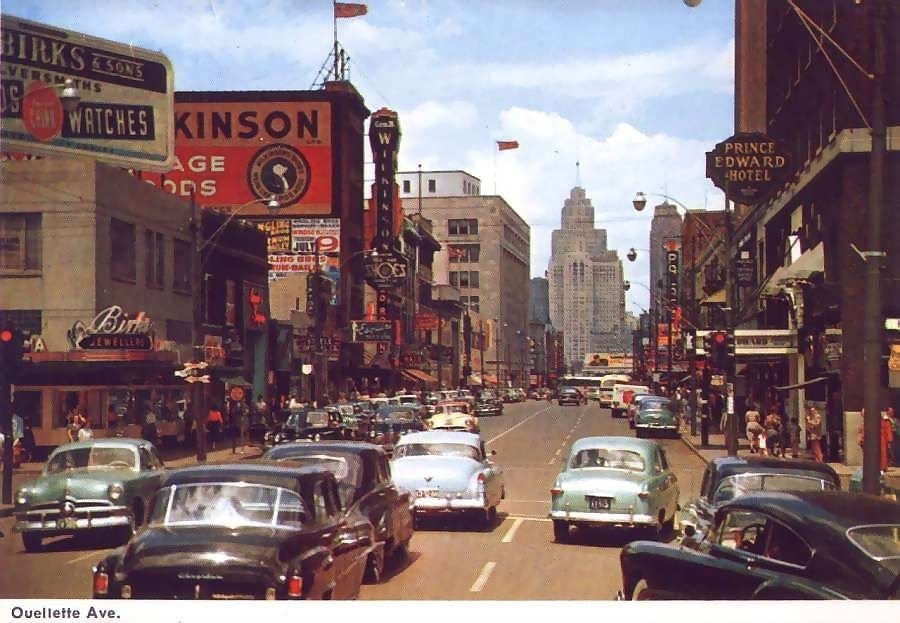 Ouellette Avenue in downtown Windsor, Ontario in the 1950