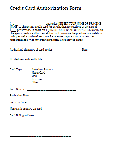 Credit Card Authorization And Consent Form For Therapy Practice