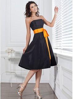 Strapless Taffeta Knee Length Black Dress