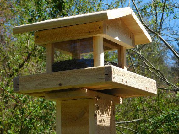 Post Mount Cedar Four Sided Bird Feeder Bird Feeder Large Bird Feeders Bird Feeders Post Mount
