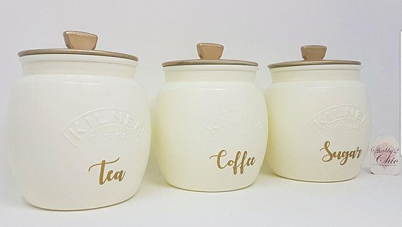 Yellow And White Kitchen Canisters