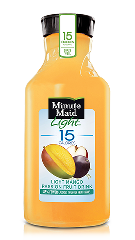 Light Mango Passion   Take your taste buds on a tropical vacation with Minute Maid Light Mango Passion Fruit Drink. It's packed with the exotic and delicious taste of mango and passionfruit, and it's low in calories, too. With 15 calories per 8 fl oz serving, you can enjoy the taste of the tropics.