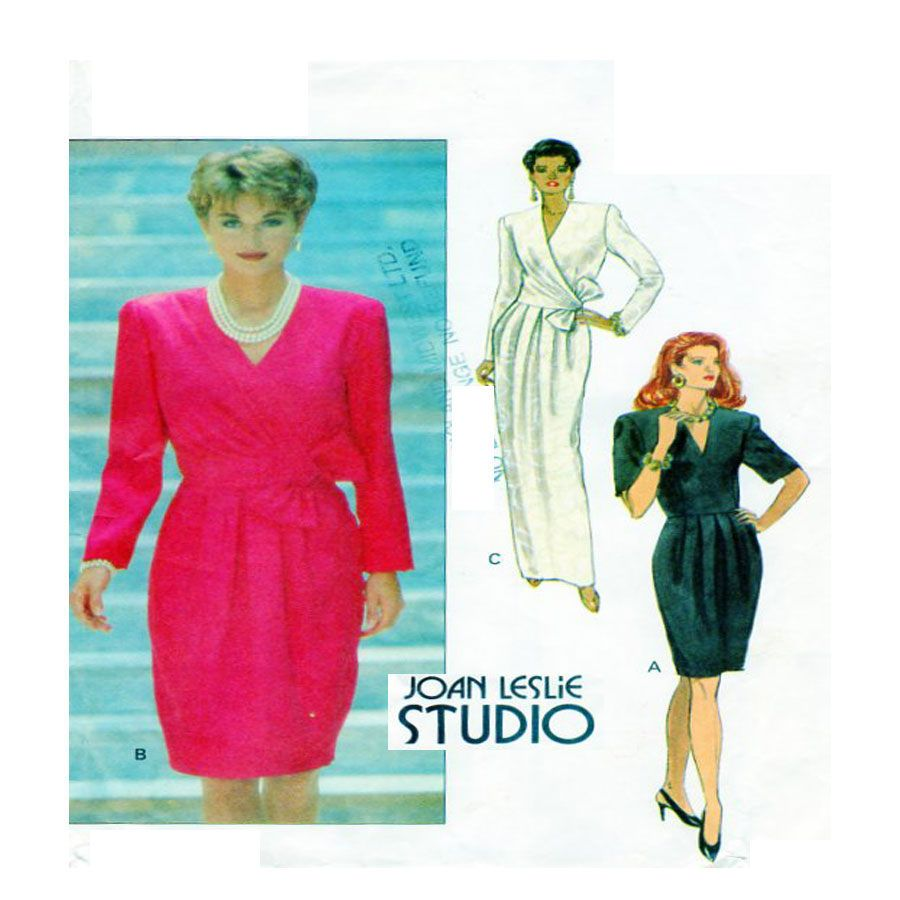 Joan leslie butterick evening gown cross bodice gown wrap