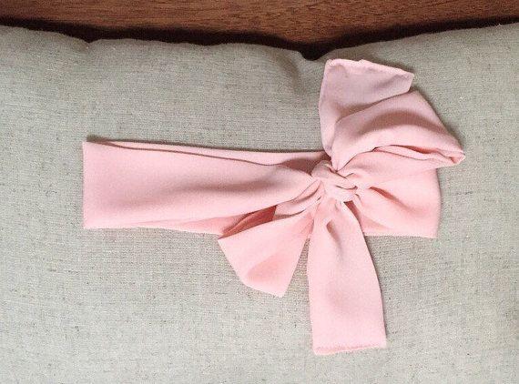 Peach Chiffon Single Loop Head Wrap with Tie by BriscoeDesigns