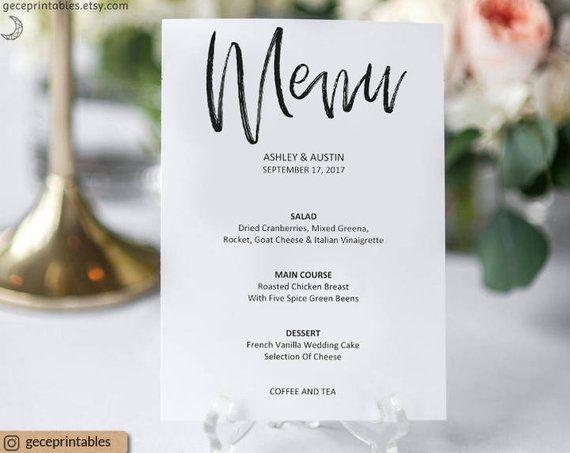 Wedding Menu Template 5x7 Wedding Printable Menu Card