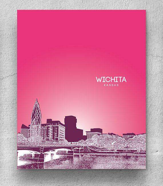 Modern Home Wall Art Poster / Wichita KS Skyline 8x10 Poster / Any City or Landmark