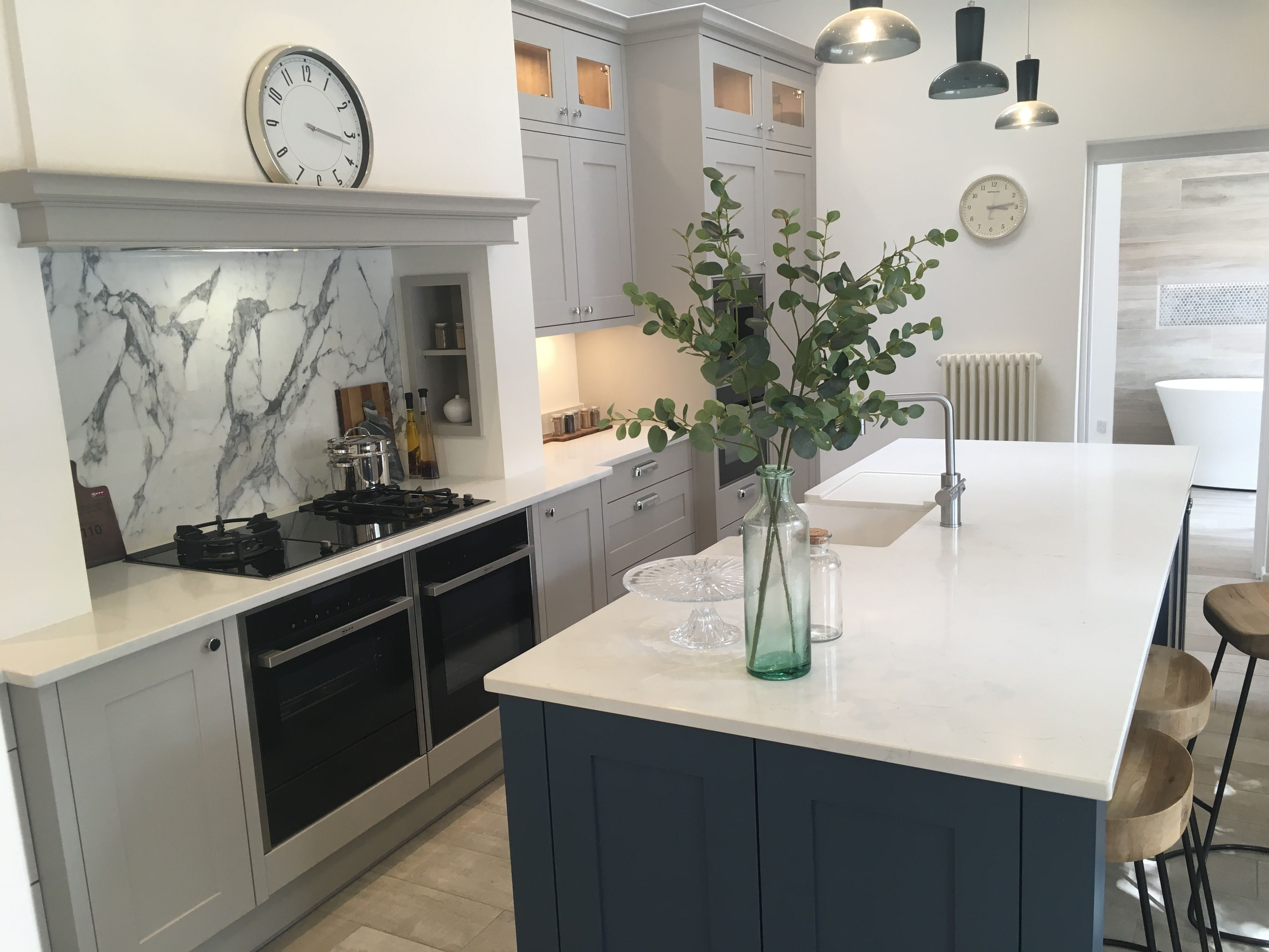 Kitchen with large island and units only on one side. 800mm walkway ...