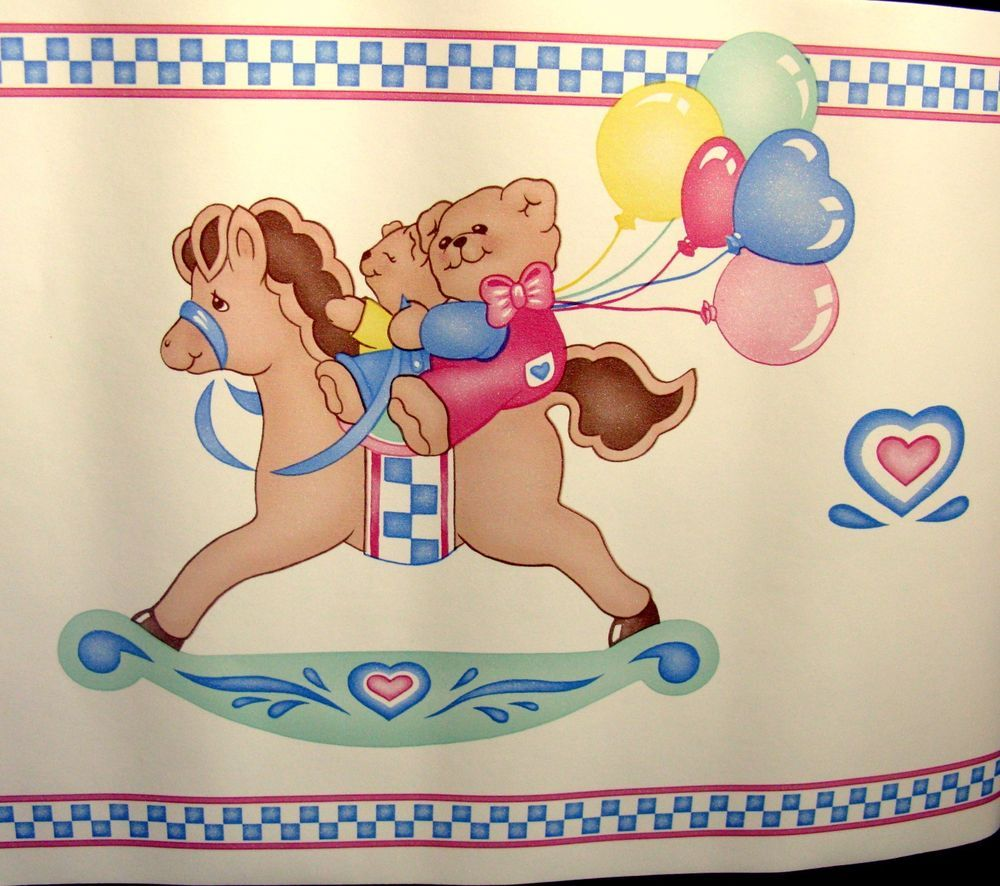 Teddy Bears are riding on Rocking Horses with Heart Balloons. Adorable Teddy Bear wallpaper border. Perfect for your lil' one! 2 full rolls (5 yds each) of wallpaper border in excellent condition - but are not sealed in factory plastic. | eBay!
