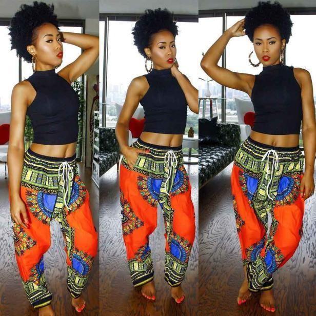 Ladies Summer Boho Leggings African Print Wide Leg Pants Trousers