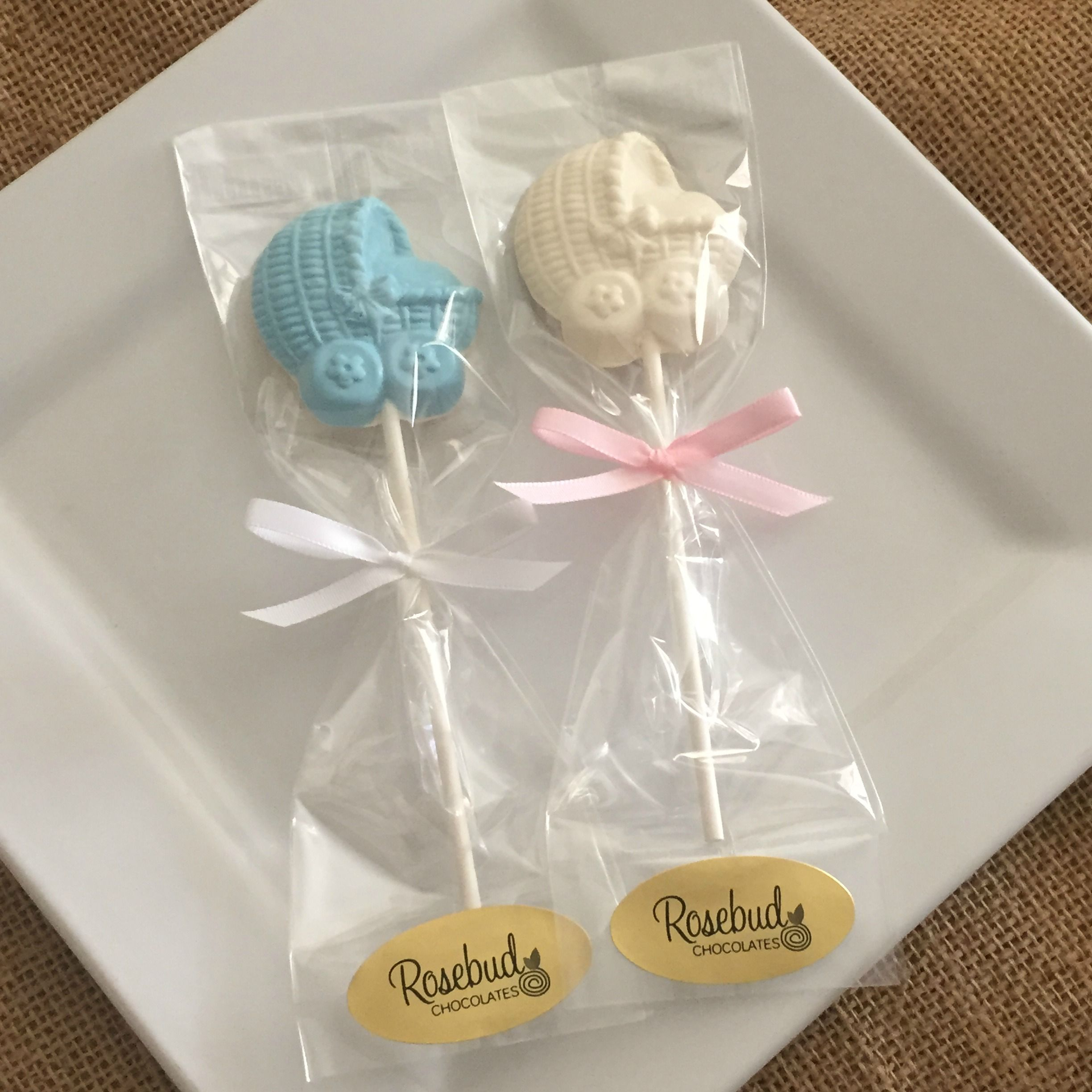 White Chocolate Baby Buggy Lollipop Favors, Baby Shower Candy, Dessert
